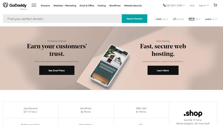 GoDaddy's web hosting homepage