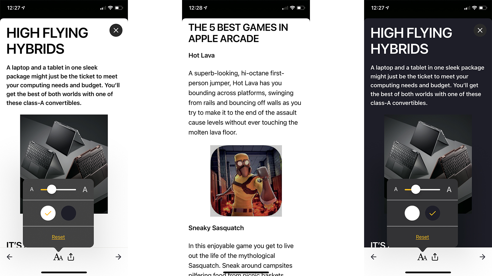 Readly article view on mobile