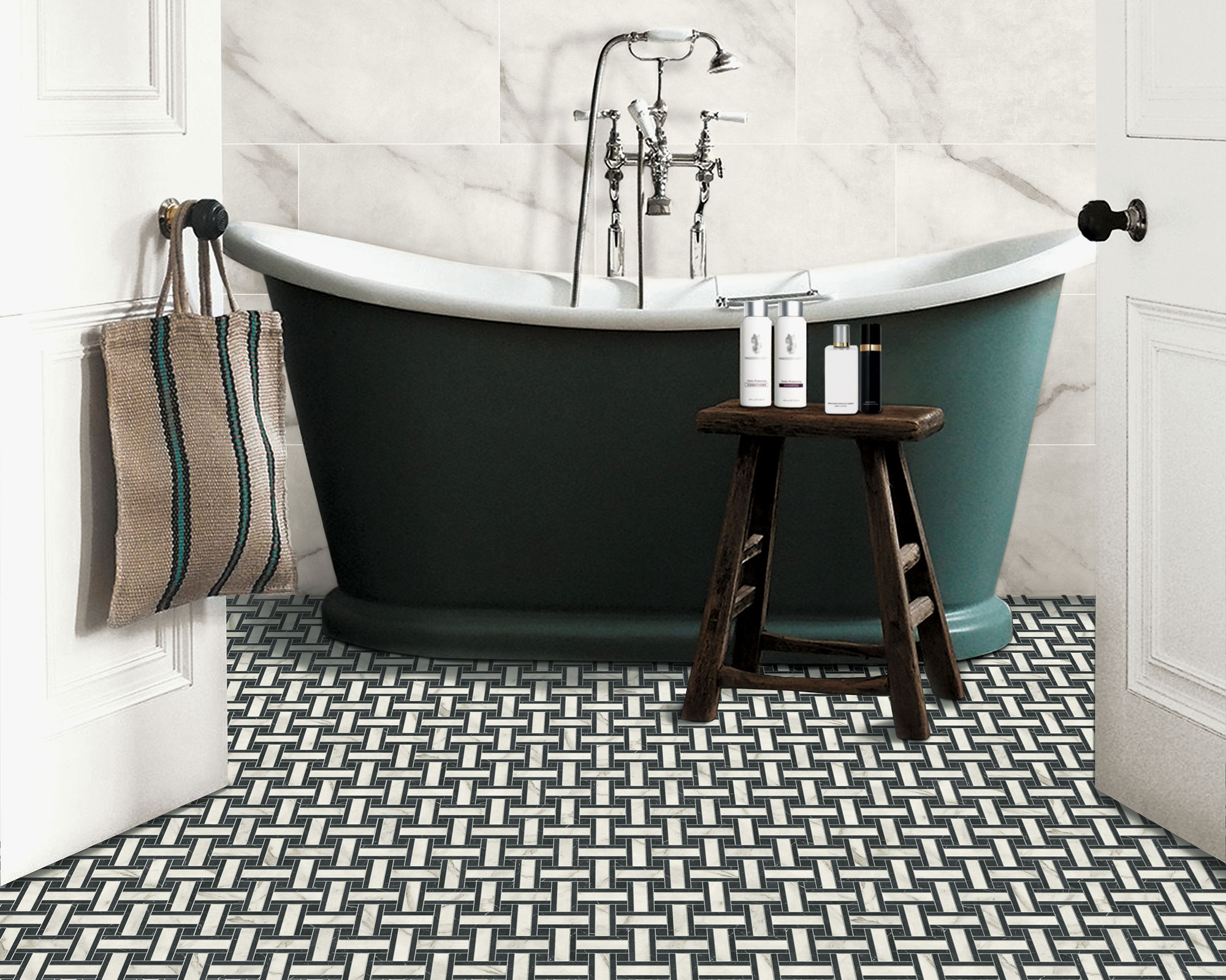 Small Bathroom Flooring Ideas From Bold Colours And Striking Patterns To Soothing Neutrals And More Homes Gardens Homes Gardensdocument Documenttype