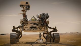 In February 2021, NASA's Mars 2020 Perseverance rover and NASA's Ingenuity Mars Helicopter (shown in an artist's concept) will be the two newest explorers on Mars.