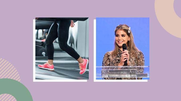woman walking on treadmill and lauren giraldo on template