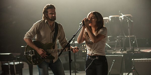 Bradley Cooper and Lady Gaga singing in A Star is Born