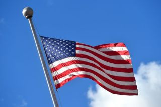 The American flag flying over the 2015 UCI Road World Championships in Richmond, Virginia
