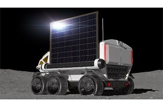 In this by Toyota ko The concept of a Japanese Moon Rover seems to use a rollup solar array to generate electricity. JAXA and Toyota are investigating the use of fuel cells for power supply.