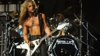 Singer and guitarist James Hetfield of the heavy metal quartet Metallica performs onstage in circa 1985.