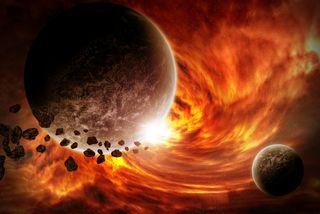 Illustration showing Earth armageddon