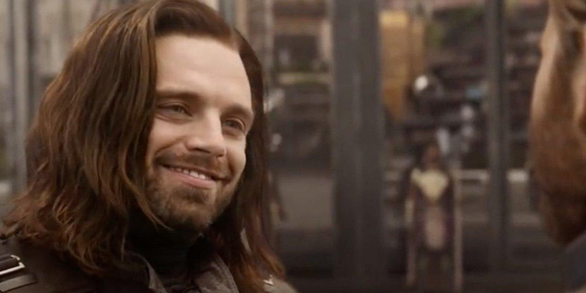 Bucky Barnes smiles at Captain America Avengers: Infinity War Marvel