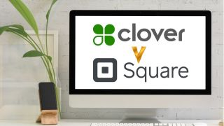 Square POS logo and Clover POS logo on computer screen