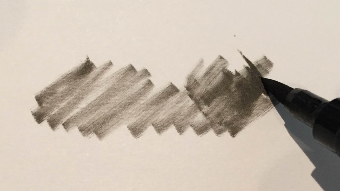 pen strokes of a pen that is running out of ink