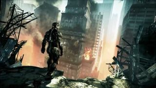 The player looks through a broken, exposed wall down into the ruined streets of Manhattan