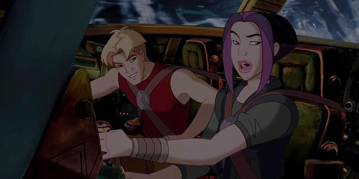 Matt Damon and Drew Barrymore in Titan A.E.