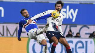 UC Sampdoria player Fabio Quagliarella of vs Guillaume Gigliotti of FC Crotone