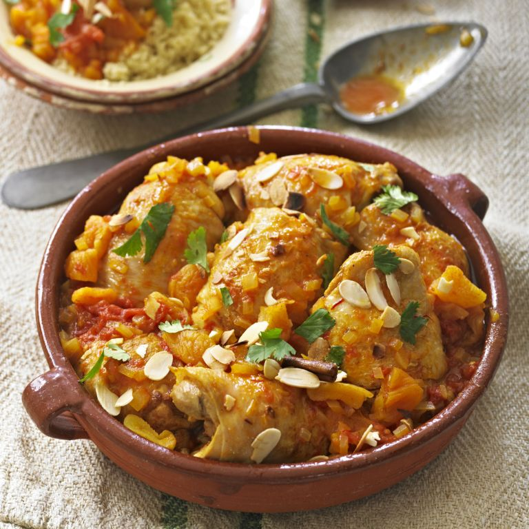 Moroccan Spiced Chicken with tomatoes, saffron and apricots recipe-new recipes-woman and home