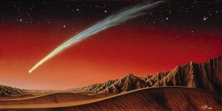 Bright Comet Over Mars Illustration Kim Poor