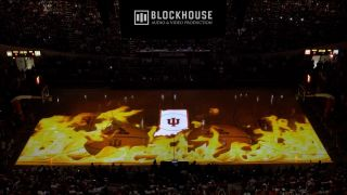 Projection mapping by Arista Corporation at an Indiana University basketball game.