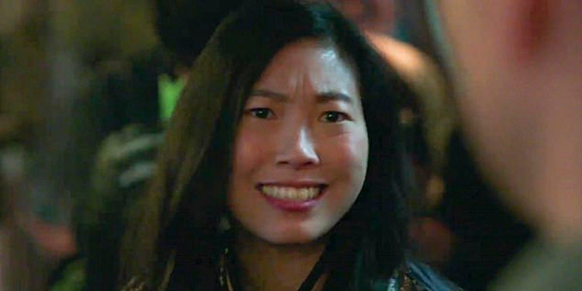 Awkwafina as Katy making funny face to Shang-Chi