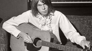 Photo of Neil YOUNG; shot in a Warner Brothers rented house in Chelsea, West London