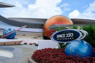 Space 220 Restaurant, part of the Mission: SPACE pavilion at Walt Disney World Resort's Epcot Center in Florida, invites guests to dine aboard a space station in Earth orbit.