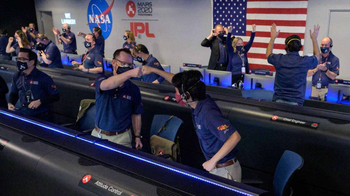 In photographs: Perseverance rover's Mars touchdown celebrations at NASA and across the nation