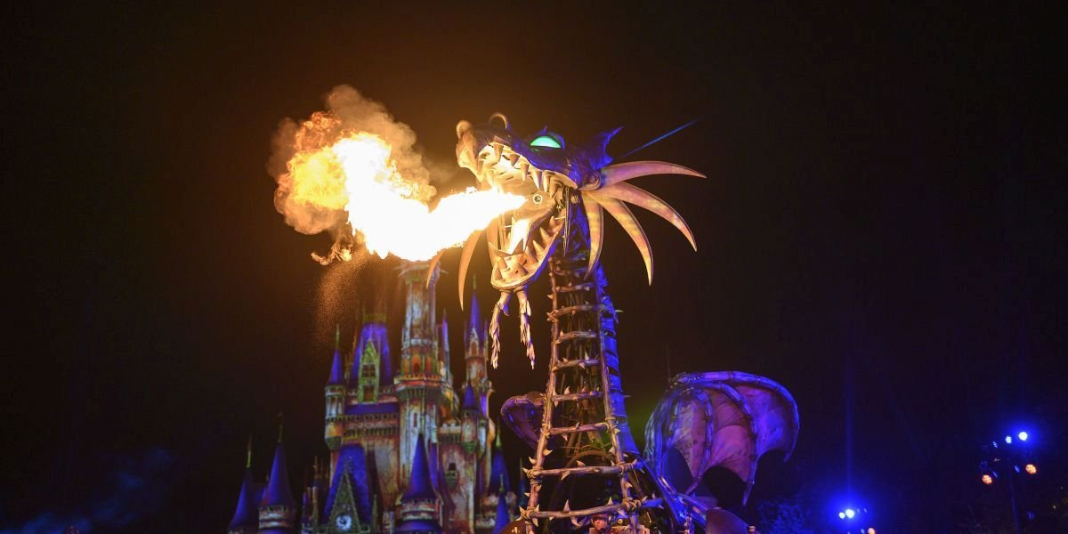 Maleficent dragon float in front of castle at Walt Disney World