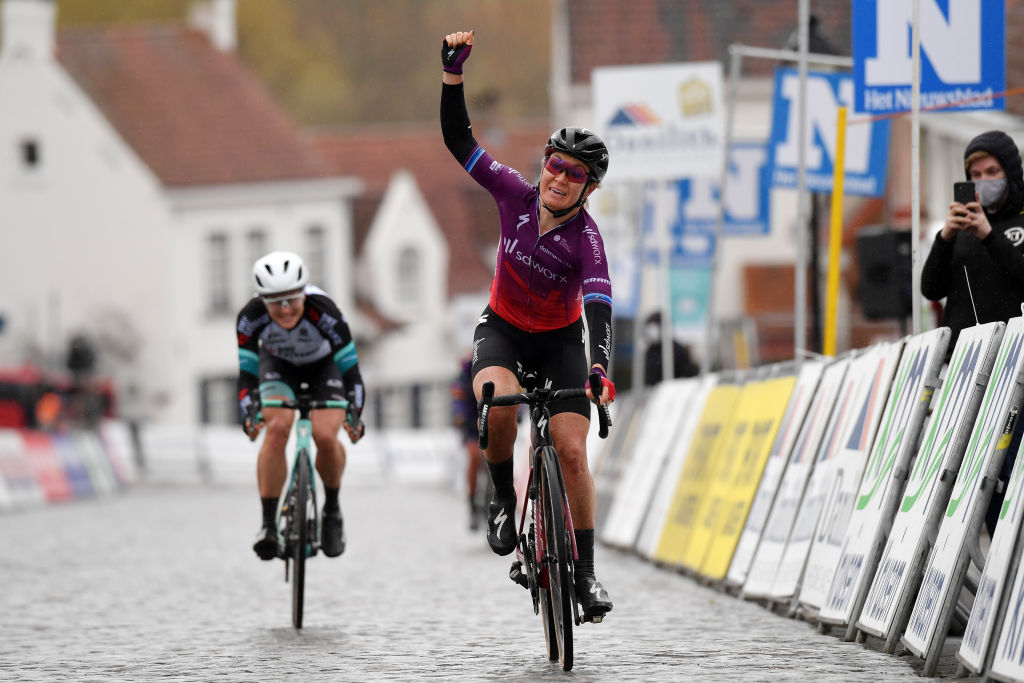 NOKERE BELGIUM MARCH 17 Arrival Amy Pieters of Netherlands and Team SD Worx Celebration Grace Brown of Australia and Team BikeExchange during the 3rd Nokere Koerse Danilith Classic 2021 Womens Elite a 124km race from Deinze to Nokere NokereKoerse on March 17 2021 in Nokere Belgium Photo by Mark Van HeckeGetty Images