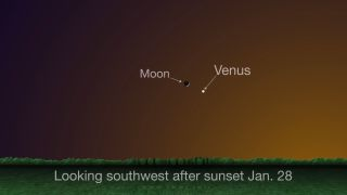 The crescent moon and Venus once again make for a gorgeous sight at the end of January. On Jan. 28, you'll find the pair hovering about 4 degrees apart in the southwest in the hour or so after sunset.