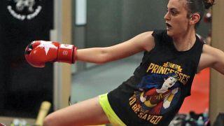 Wonder Woman: Evolution writer Stephanie Phillips practicing Muy Thai