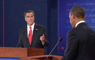 screengrab of video showing presidential debates on Oct. 3, 2012.