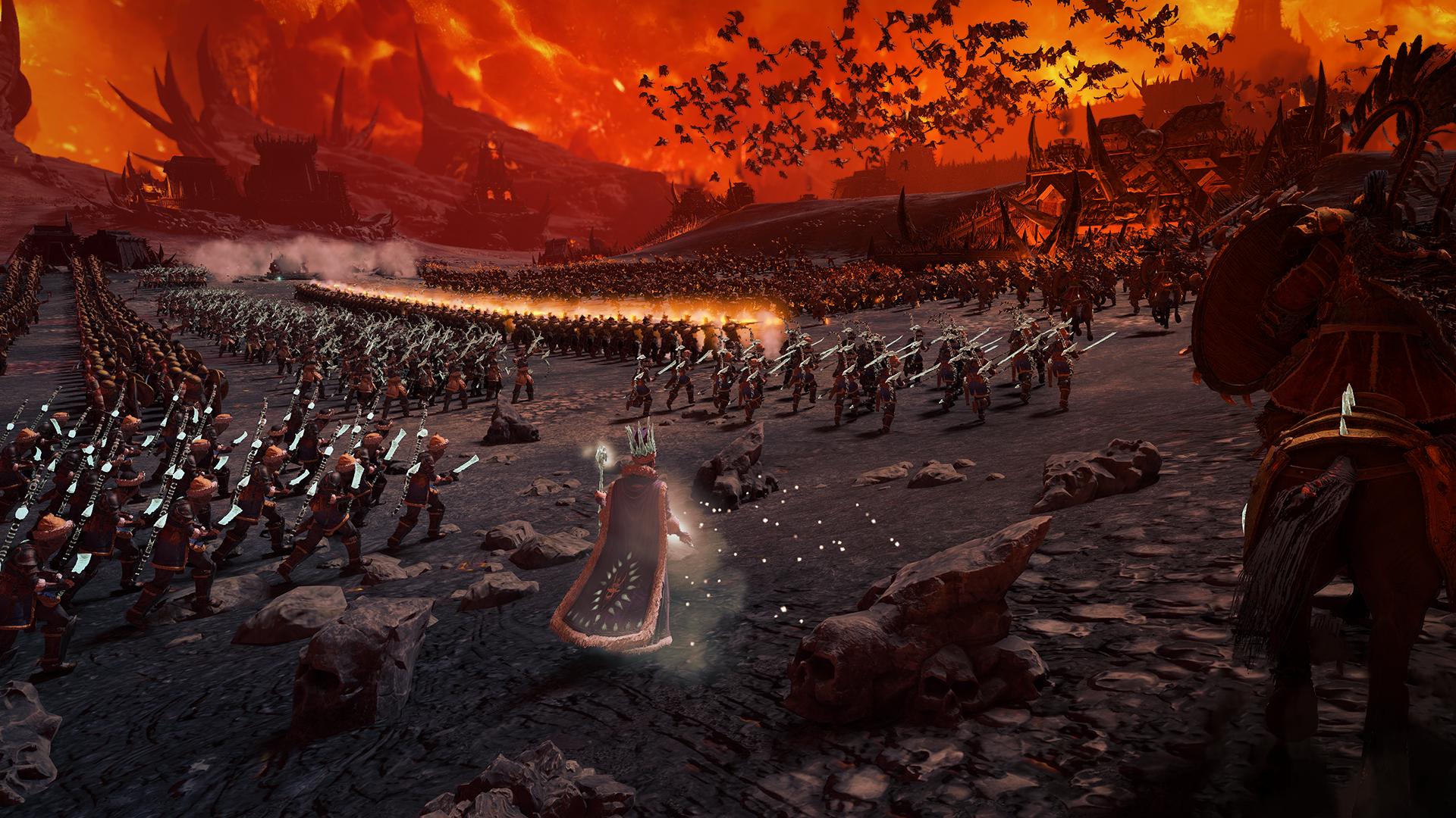 total war warhammer 3 survival battle fire
