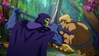 Masters Of The Universe: Revelation — a still of Skeletor and He-Man locking swords in a fierce battle