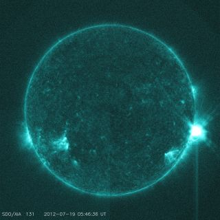 The M7.7 solar flare erupted early on July 19.