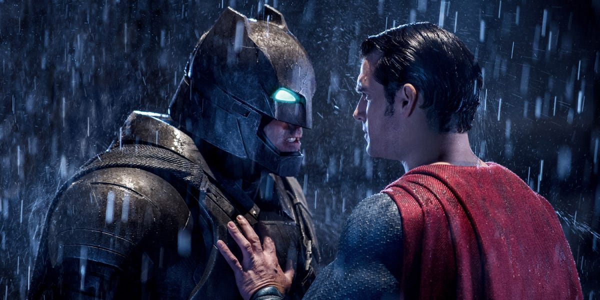 Batman and Superman from Batman V. Superman: Dawn of Justice, one of Zack Snyder's films.