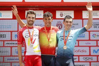 New Spanish champion Omar Fraile on the podium with Jesus Herrada and Alex Aranburu