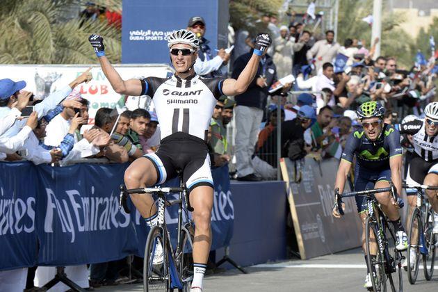 Marcel Kittel wins stage three of the 2014 Dubai Tour