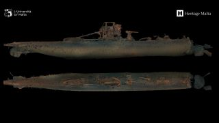 The 3D photogrammetric scan of the wrecked submarine matches the dimensions of HMS Urge and shows where the bow of the vessel broke off as it plunged into the seafloor.