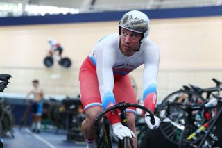 Russia's Shane Perkins trains at the Anna Meares Velodrome in Brisbane, Australia, ahead of the start of the Brisbane round of the 2019/20 Track World Cup