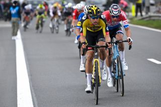 Belgian Wout Van Aert of Team JumboVisma and Dutch Mathieu van der Poel of AlpecinFenix pictured in action during the E3 Saxo Bank Classic cycling race 2039km from and to Harelbeke Friday 26 March 2021 BELGA PHOTO DIRK WAEM Photo by DIRK WAEMBELGA MAGAFP via Getty Images
