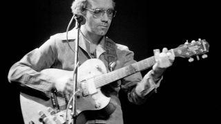 J.J. Cale performs on stage in April 1976 in Copenhagen, Denmark