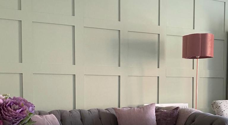 Shaker wall paneling DIY in sage matt green