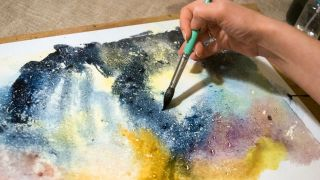 watercolour tutorials: night sky