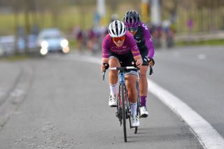 Elisa Longo Borghini (Trek-Segafredo) in the Women's WorldTour leader jersey and Soraya Paladin (Liv Racing) out the front at Gent-Wevelgem 2021