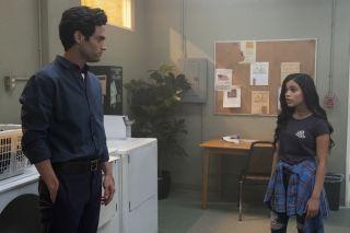 Jenny Ortega with Penn Badgley in Netflix thriller YOU.