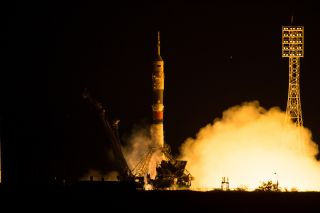 A Russian Soyuz TMA-17M rocket launches three new members of the International Space Station's Expedition 44 crew on July 22, 2015 from Baikonur Cosmodrome, Kazakhstan, where the local time was early July 23. The Soyuz carried NASA astronaut Kjell Lindgre
