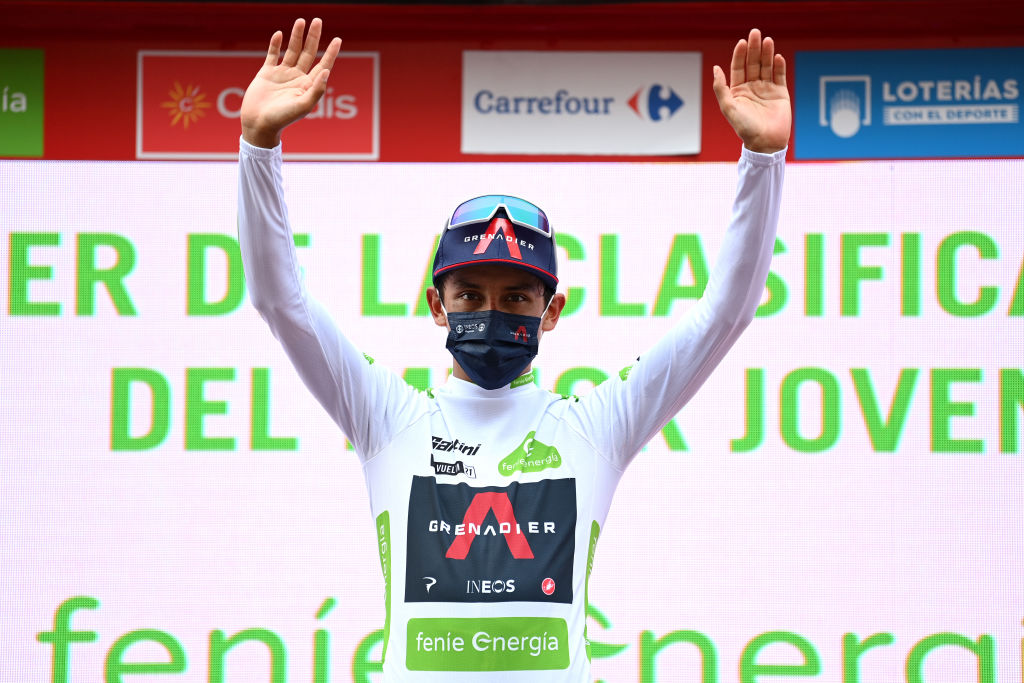ALBACETE SPAIN AUGUST 18 Egan Arley Bernal Gomez of Colombia and Team INEOS Grenadiers celebrates winning the White Best Young Rider Jersey on the podium ceremony after during the 76th Tour of Spain 2021 Stage 5 a 1844km stage from Tarancn to Albacete lavuelta LaVuelta21 on August 18 2021 in Albacete Spain Photo by Stuart FranklinGetty Images