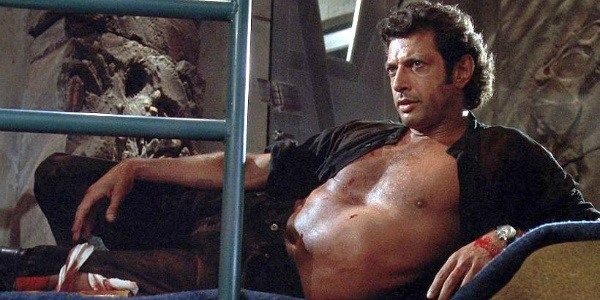 Goldblum with his shirt unbuttoned