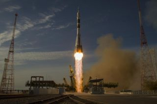 A Russian Soyuz rocket launches the Expedition 33/34 crew to the International Space Station on Oct. 23, 2012.