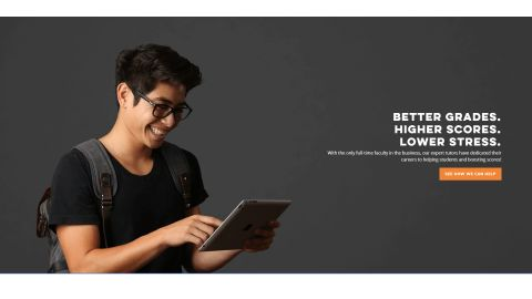 Revolution Prep Review 2021: image shows revolution prep homepage and student holding tablet