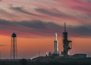 SpaceX's first Falcon Heavy rocket on the launchpad before its February 2018 flight.