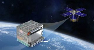 An illustration shows the Deep Space Atomic Clock aboard its orbital testbed.