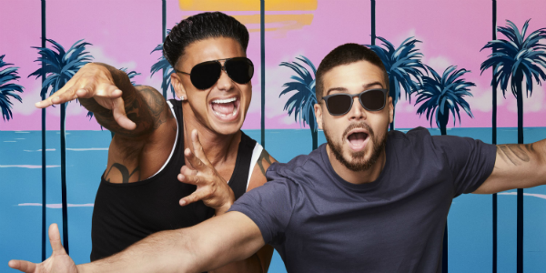 Pauly D and Vinny in a promo photo for Jersey Shore: Family Vacation